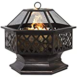 Clever Market Outdoor Patio Hex Shaped Fire Pit Home Garden Backyard Fireplace Firepit Bowl Patio Heater