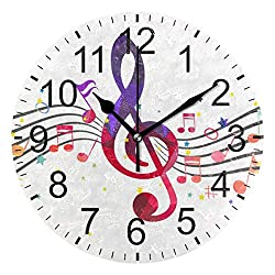 Senwei Colorful Music Treble Clef Wall Clock Decorative Living Room Bedroom Kitchen Battery Operated Round Clock Art for Home Decor Unique