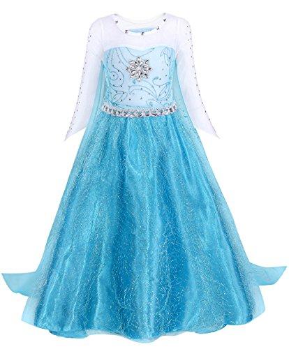 AmzBarley Disfraz Niña Princesa,Vestido Niña Traje para Boda Baile Fiesta Navidad Ceremonia Comunion Bautizo Halloween Carnaval Cosplay Cumpleaños Manga Larga con Capa Azul 01,4-5 Años