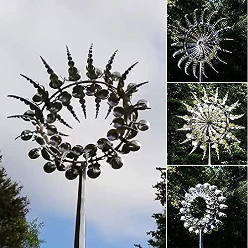 Unique and Magical Metal Windmill - Sculptures Move with The Wind,Wind Powered Kinetic Sculpture & Magical Metal Windmill, Kinetic Metal Wind Spinners for Patio Lawn & Garden