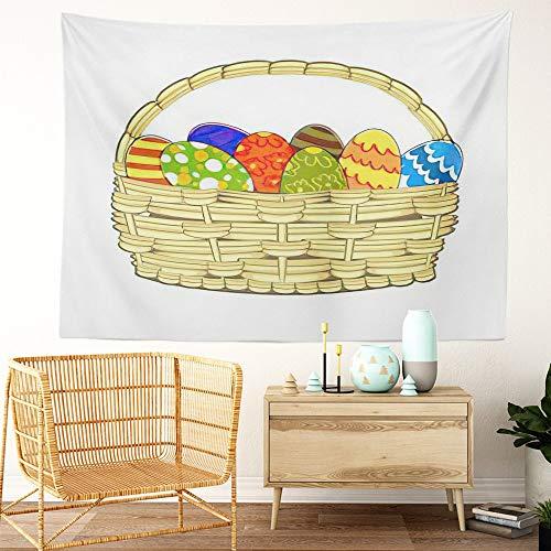 Y·JIANG Tapiz para cesta de Pascua, diseño de lunares, color azul de Pascua, con cáscaras de huevo oriental, decoración para el hogar, dormitorio, 152 x 127 cm