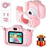 Bosszi Kids Digital Camera Mini Camcorder for Boys and Girls | 2.0 Inches Digital Dual Camera | 20.0MP HD Video Camcorder Anti-Drop Children Cartoon Selfie Camera for Gift - with 32G SD Card (Pink)