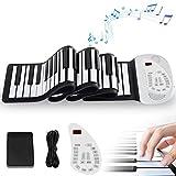 ロールピアノ 88鍵 日本語パネル 電子ピアノ ロールアップ 128音色 MIDI スピーカー フットペダル