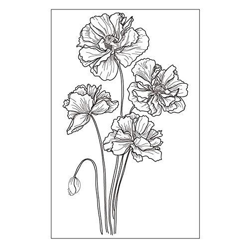 Stempel mit Blumen, Mohnblumen, Gummi, für Scrapbook/Fotoalbum, dekorative Kartengestaltung, transparent