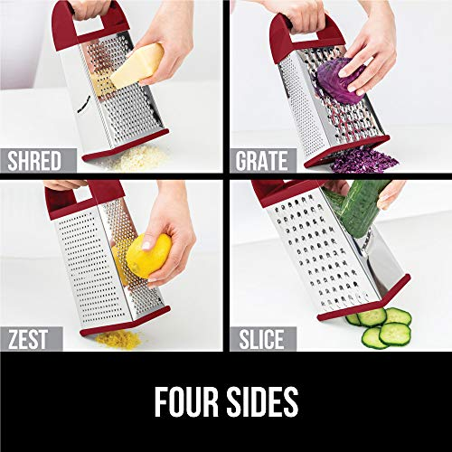 Gorilla Grip Box Grater, Stainless Steel, 4-Sided Graters with Comfortable Handle and Storage Container for Cheese, Vegetables, Ginger, Handheld Food Shredder, Kitchen Zester, 10 inch, Red