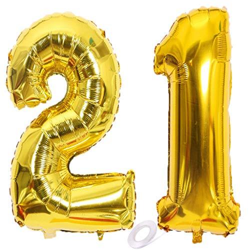 SNOWZAN Luftballon 21. Geburtstag Gold Mädchen Junge Zahl 21 Riesen Folienballon Helium Nummer 21 Luftballon Große Zahlen 21 Jahre XXL 21. Happy Birthday 32 Zoll Riese Zahl 21Geburtstag für Party