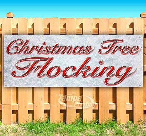 Christmas Tree Flocking Red /& Chrome 13 oz Banner Heavy-Duty Vinyl Single-Sided with Metal Grommets