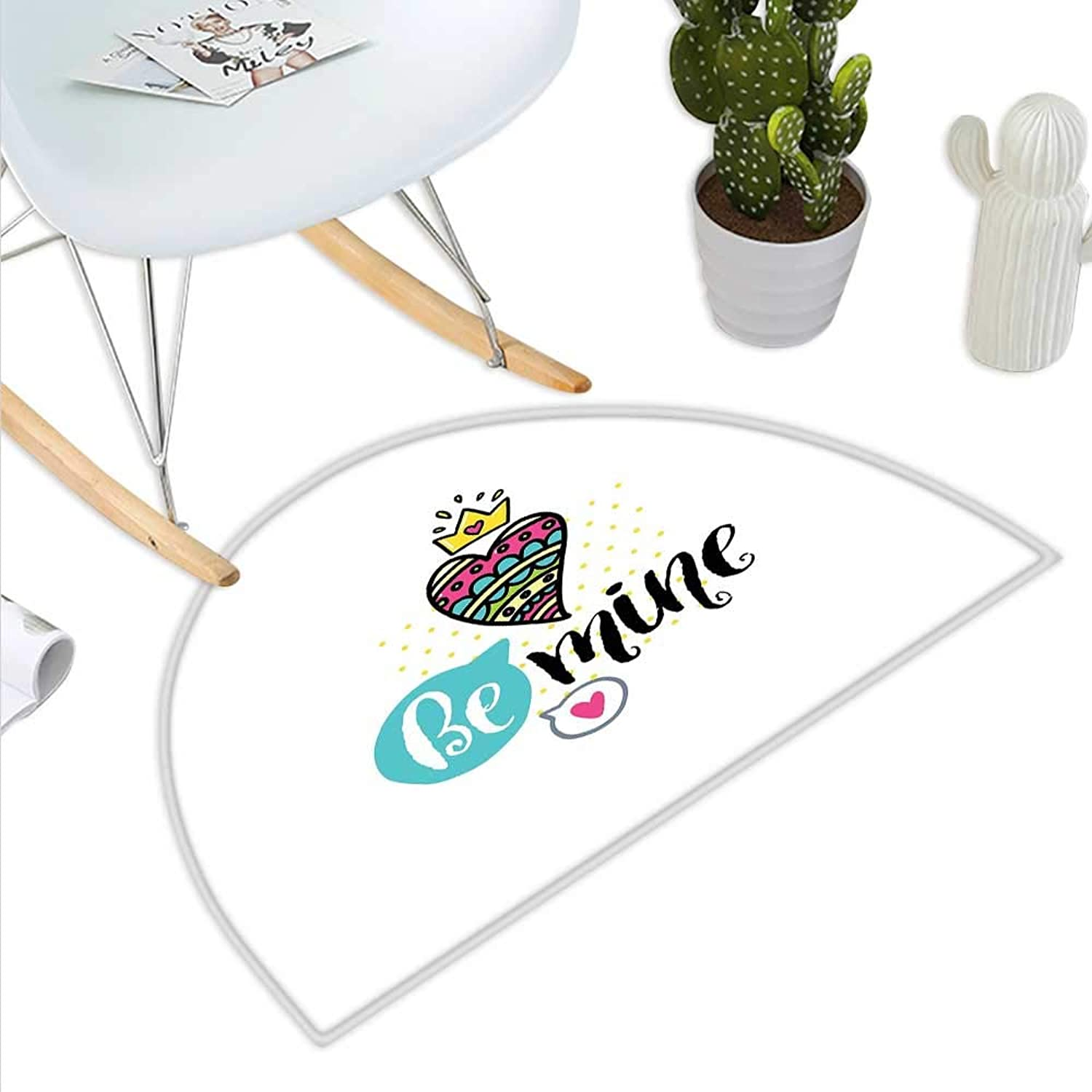 Romantic Semicircle Doormat colorful Patterned Heart Shape with a Crown Creative Typography Phrase Be Mine Halfmoon doormats H 43.3  xD 64.9  Multicolor