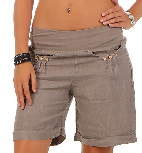 Malito Damen Bermuda aus Leinen   lässige Kurze Hose   Shorts für den Strand   Pants - Hotpants 6822 (Fango, M)