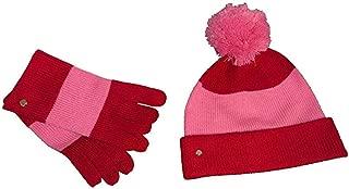 Kate Spade Color Block Pom Pom Beanie & Matching Glove Set In Box