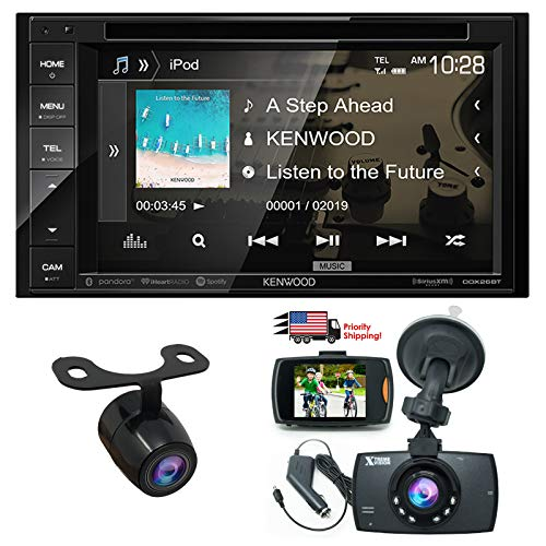 """Kenwood Audio DDX26BT 6.2"""" Double Din Bluetooth WVGA Touch Screen DVD Receiver w/ 1080 HD Dash Cam Night Vision G-Sensor Video Recorder & HD Rear View Camera"""
