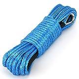 Cuerda 6,5 mm 15M Cuerda de cabrestante sintética para ATV Winches ATV UTV SUV Offroad Truck Cuerda de cabrestante Cable sintético de 1/4 '' x 50 pies Cuerda de cabrestante azul 7500+ LB con funda