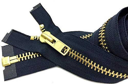 Zipperstop Wholesale YKK- Extra Heavy Duty Jacket Zipper YKK #10 Brass- Metal Teeth Separating -Chaps Zippers for Crafters Special Color Navy #560 Made in USA -Custom Length (24 inches)