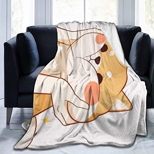 Jupsero Manta de Tiro Kawaii Shiba Inu Manta Ligera Ultra Suave Manta de Tiro de Franela 80 'X 60'