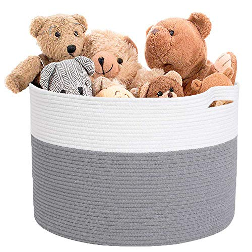 Laundry hampers Collapsible with 100% Hand-Woven Cotton Rope, 18''X18''X14''Extra Large Storage Basket for Towels, Sofa Throws, Laundry, Toy & More in The Living Room as Decorative Home Organizer