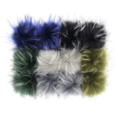 Furling Pompoms Faux Raccoon Fur Pompom Balls for Knitted Hats Decoration 4.3 Inches 12pcs