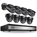 ZOSI 1080p 16 Channel Security Camera System, H.265+ 16 Channel DVR Recorder and 8 x 1080p Weatherproof Surveillance CCTV Bullet Dome Camera Outdoor Indoor, 80ft Night Vision, 90° View Angle (No HDD)
