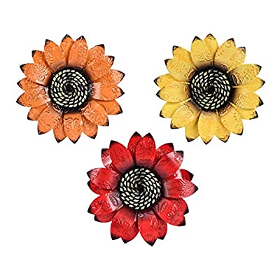 YEAHOME Metal Flower Wall Decor - 9 inch Wall A...