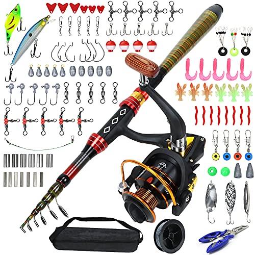 Carrete de pesca telescópico Equipo de pesca completo Kit de combinación con bolsa portátil única trucha color caña de pescar
