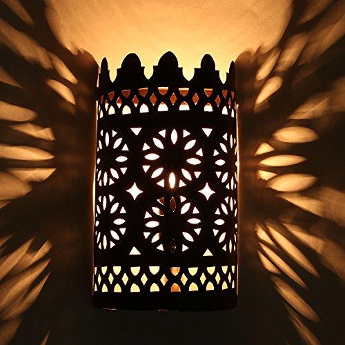 Orientalischer Wandleucht marokkanische Wandlampe EWL01 eisen-rost-finish | Kunsthandwerk aus Marrakesch | Prachtvolle Vintage Wandbeleuchtung für tolle Lichteffekte wie aus 1001 Nacht | L1641