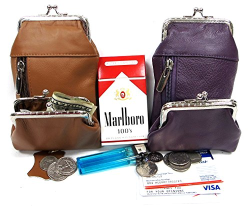 purs with lighters 2pc Two Color Set Lady's Genuine Leather Cigarette Stash Case+ Coin Purse - Purple +Lt. Brown