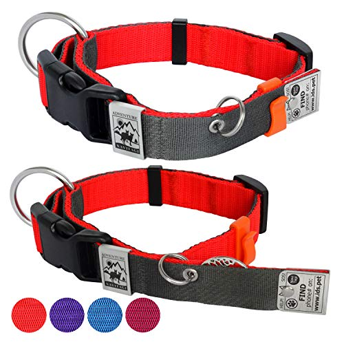 NaviTagi Dog Collar Personalized w/ID Number for Small Dogs. Silent ID Tag, 2 Phones Updatable Online, Name Safe. Rabies/License Tags No Jingle Keeper. Nylon No Edges Comfort Design. (Small-W, Red)