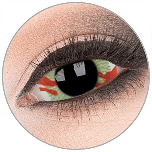Farbige 'Contagion' 22 mm Sclera Kontaktlinsen von 'Evil Lens' zu Fasching Karneval Halloween 1 Paar braune rot Crazy Fun Kontaktlinsen mit Behälter in Topqualität ohne Stärke
