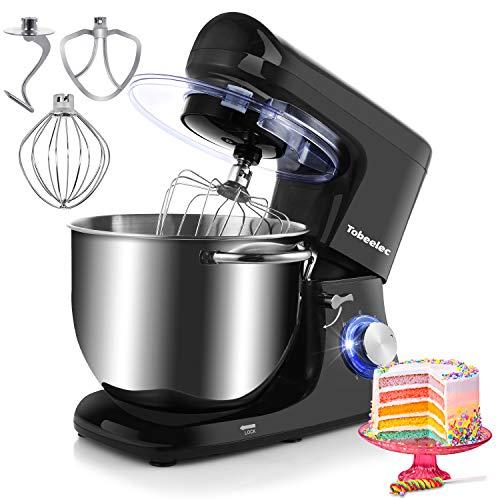 Tobeelec Stand mixer, 7.4QT Electric Kitchen Mixer, 660W 6-Speed Tilt-Head Food Mixer with Dough Hook, Wire Whip, Beater & Splash Guard (Black)