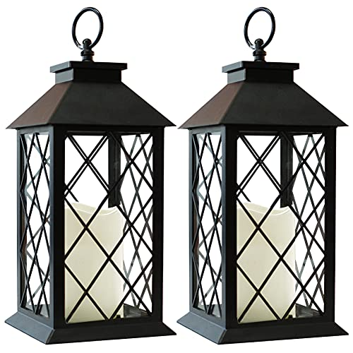Bright Zeal 2-Pack 14' Vintage Candle Lantern with LED Flickering Flameless Candle (Black, 6hr...