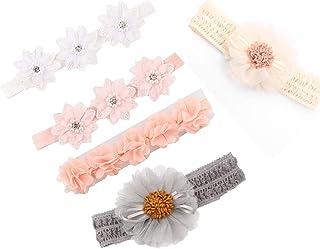 Voarge Opaska na czoło dla dzieci, pięciu kwiatów, kwiatowe opaski dla dziewcząt, ze sztuczną skórą, ozdoba do włosów na i...