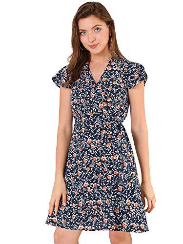 Allegra K Vestido floral para mujer con mangas de tulipán y lazo en la cintura