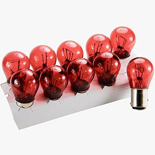 phil trade Lot de 10 ampoules BAZ15D - 21 W - 4 W - 12 V - Rouge - P21/4 W