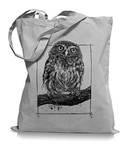 Big Owl Stoffbeutel |Eulen Eule Tragetasche Kult-light_grey