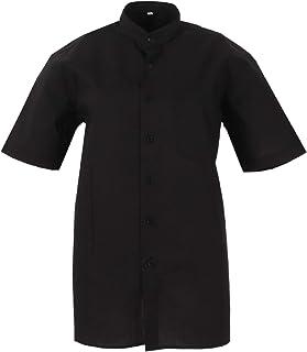 MISEMIYA - Camisa Uniforme Camarero Hombre Cuello Mao Mangas Cortas MESERO DEPENDIENTE Barman COCTELERO PROMOTRORES - Ref....
