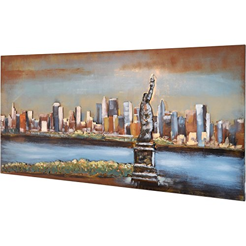 MÖBEL IDEAL 3D Metallbild Freiheitsstatue Wandbild 120 x 60 cm Bild Statue of Liberty aus Metall in Handarbeit