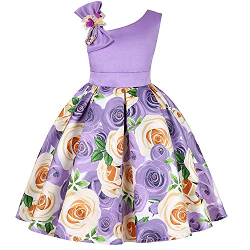 Fairy Elegant Party Pageant Prom Vintage Flower Girl Dress Teens Girls Sleeveless Wedding Bridal Ball Gown Formal Easter Dress Size 4T 5T (Purple 120)