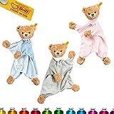LALALO Steiff Schlaf Gut Bär Schmusetuch Bestickt mit Namen für Baby & Kinder personalisiert, Kuscheltuch, 30 cm, Mädchen (Rosa)