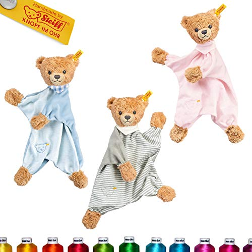 LALALO Steiff Schlaf Gut Bär Schmusetuch Bestickt mit Namen für Baby & Kinder personalisiert, Kuscheltuch, 30 cm, Junge (Blau)