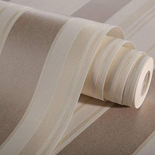 Papel de Pared 3D, Rayas mediterráneas Papel Pintado No Tejido Marrón claro Relieve, en Rollo, para Sala de Estar Habitación Cocina Comedor Fondo de TV 0.53m x 9.5m