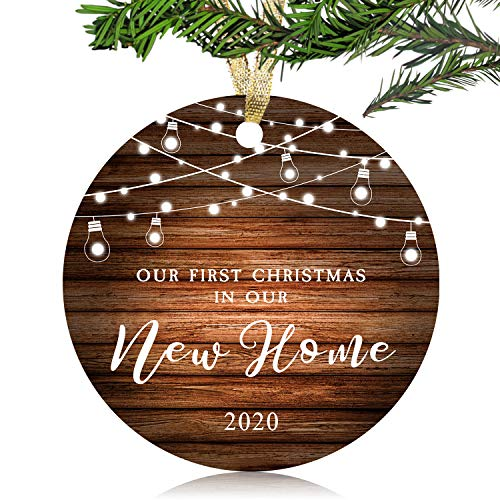 NURIONSS Our First Christmas in Our New Home Ornaments 2020 - Christmas Wedding Decoration Gift for New Home New Homeowner New Apartment - 3' Ceramic Ornament(New Home)