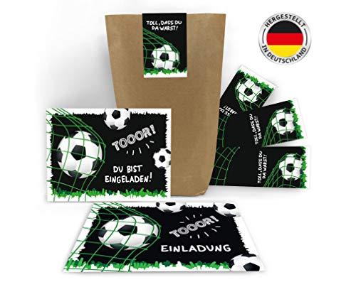 12 Einladungskarten zum Kindergeburtstag Jungen Fussball Fußball incl. 12 Umschläge, 12 Tüten, 12 Aufkleber