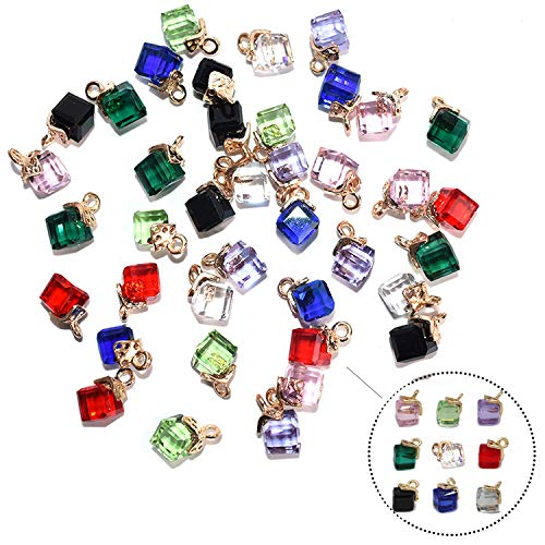 40 colgantes de cristal en forma de cubo, varios colores, chapados en oro, para collares, pulseras, pendientes de tobillo, adornos, joyas, bricolaje