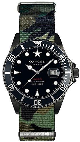 Oxygen Moby Dick schwarz 40 Herren Quarzuhr mit schwarzem Zifferblatt Analog-Anzeige und Nylongurt Multicolor EX-D-MBB - 40-NN-AR