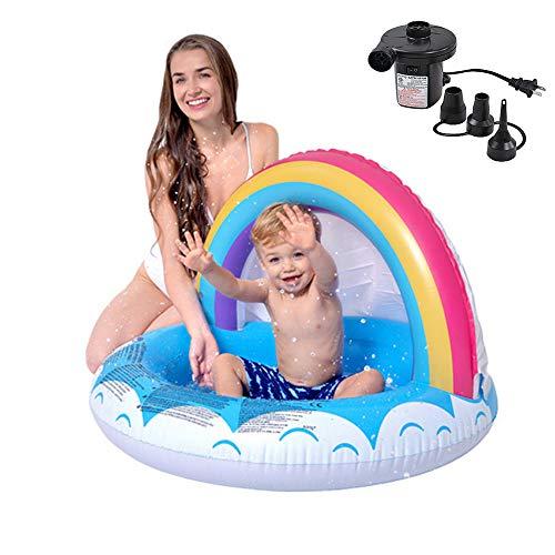 LHY BATHLEADER Aufblasbare Pool, 37.4 * 25.9in, Planschbecken Für Kinder, Regenbogen Schatten Baby Pool, Sommer Kinderunterhaltung, Spiele