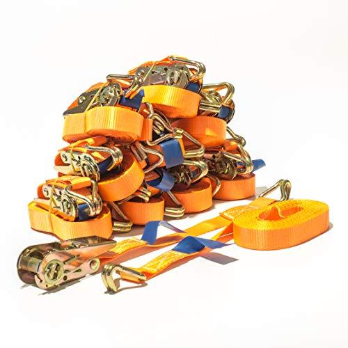 10 Stück Spanngurt 800 kg 6m orange Zurrgurt 800 kg 6m 0,8 to 6m Ratsche Ratschengurt Ratschenspanngurt Ladung SPARSET Spanngurte DIN EN 12195-2