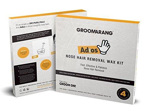 """Groomarang """"Adios"""" zu Nasenhaaren, Nasenhaar-Entfernungs-Set für Männer, schnell, effizient & schmerzlos, Nasenhaar Wax, Haarentfernungs-Wachs, Wax zum Entfernen der Nasenhaare, Set für 4 Anwendungen"""