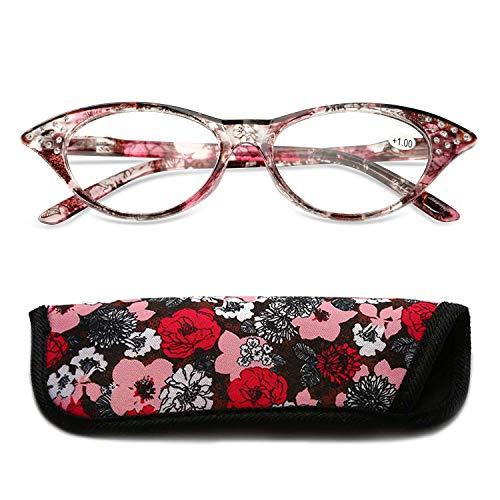KOOSUFA Katzenaugen Lesebrille Damen Federscharnier Hornbrille Lesehilfe Sehhilfe Retro Designer Mode Vollrandbrille mit Brillentasche 1.0 1.5 2.0 2.5 3.0 3.5 4.0 (Rot, 2.5)