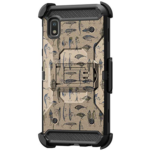 TurtleArmor | Compatible with Samsung Galaxy A10e Case | Samsung Galaxy A20e Case [Armor Pro] Full Body Armor Hybrid Kickstand Holster Belt Clip Case Girl Designs - Fishing Hooks