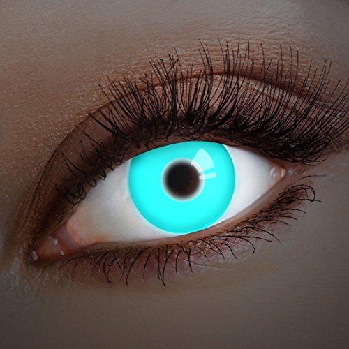 aricona Kontaktlinsen Farblinsen leuchtende UV Kontaktlinsen blau Halloween Kostüm Bodypainting