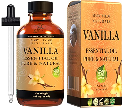 Vanilla Essential Oil (4 oz), Premium Therapeutic Grade, 100% Pure and Natural, Perfect for Aromatherapy, Relaxation, Stress Relief, Comfort and Much More by Mary Tylor Naturals